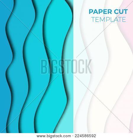 Paper cut banner design. Square template for social media posts, presentations, flyers, invitations. Vector illustration.