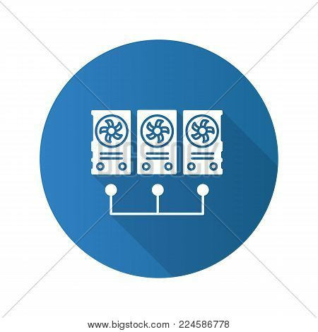 Graphic cards for mining business flat design long shadow glyph icon. Connected video cards. Cryptocurrency gpu mining farm. Vector silhouette illustration