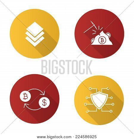 Cryptocurrency flat design long shadow glyph icon. Stratis coin, mining, bitcoin exchange, cyber security. E-currency. Vector silhouette illustration