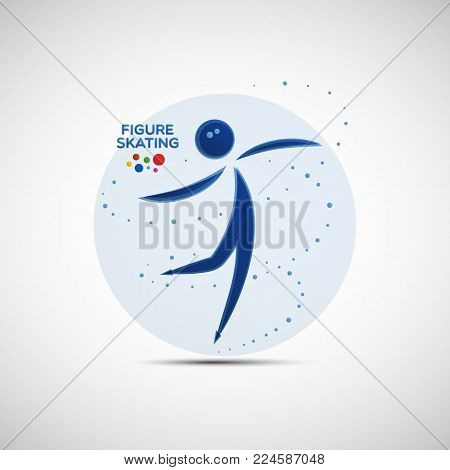 Figure Skating championship banner. Winter sports icon. Abstract sportswoman silhouette. Vector illustration of jumping and spinning figure skater for your design