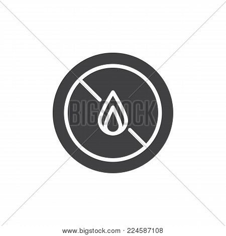 No expose flammable liquids icon vector, filled flat sign, solid pictogram isolated on white. No fire symbol, logo illustration.