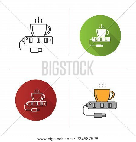 USB cup warmer icon. Flat design, linear and color styles. Water heater. Isolated vector illustrations