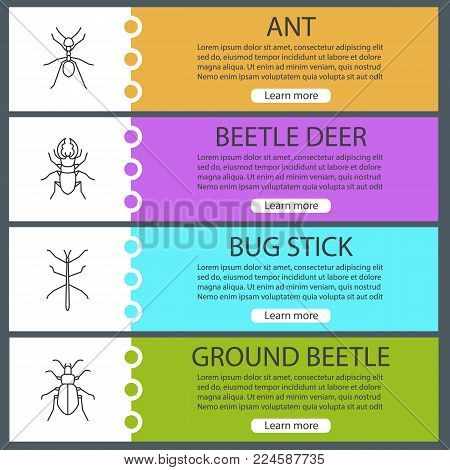 Insects web banner templates set. Ant, stag bug, phasmid, ground beetle. Website menu items. Vector headers design concepts