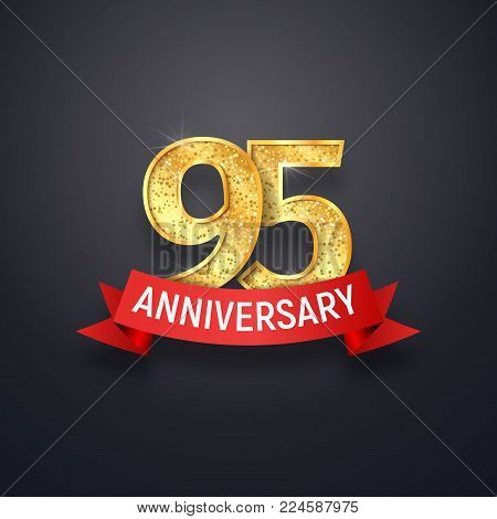 95n th anniversary logo template. Ninety-five years celebrating golden numbers with red ribbon vector design elements