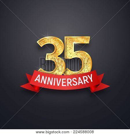 35th anniversary logo template. Thirty-five years celebrating golden numbers with red ribbon vector design elements