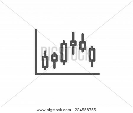 Candlestick chart line icon. Financial graph sign. Stock exchange symbol. Business investment. Quality design element. Editable stroke. Vector