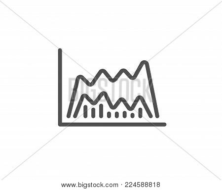 Investment chart line icon. Economic graph sign. Stock exchange symbol. Business finance. Quality design element. Editable stroke. Vector