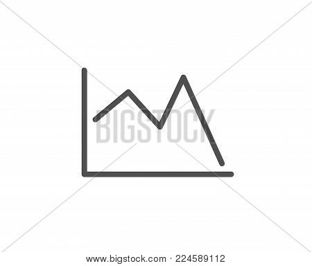 Line chart icon. Financial graph sign. Stock exchange symbol. Quality design element. Editable stroke. Vector