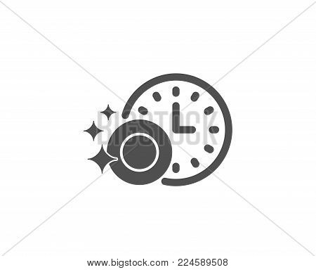 Cleaning dishes with Time simple icon. Dishwasher sign. Clean tableware sign. Quality design elements. Classic style. Vector