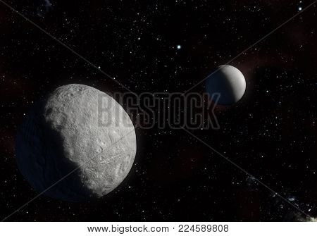 This image is a concept of the Orcus dwarf planet and your moon Dysnomia in a precise and scientific artwork design.This is a 3d rendering.