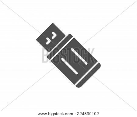 USB flash drive simple icon. Memory stick sign. Portable data storage symbol. Quality design elements. Classic style. Vector