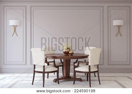 Dining-room in neoclassic style. Interior mockup. 3d render.