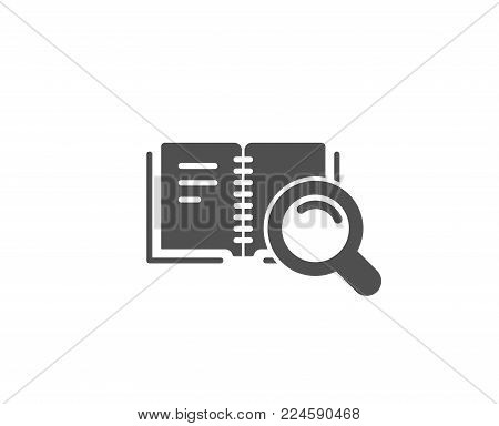 Search in Book simple icon. Education symbol. Instruction or E-learning sign. Quality design elements. Classic style. Vector