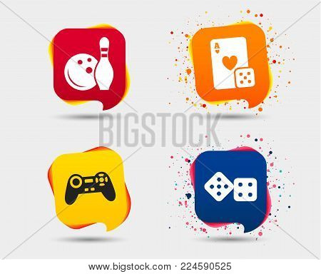 Bowling Casino Icons Video Game Vector Photo Bigstock