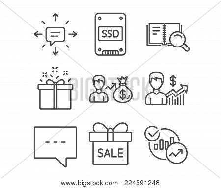 Set of Ssd, Search book and Special offer icons. Sms, Blog and Business growth signs. Sale offer, Sallary and Statistics symbols. Solid-state drive, Online education, Delivery box. Vector