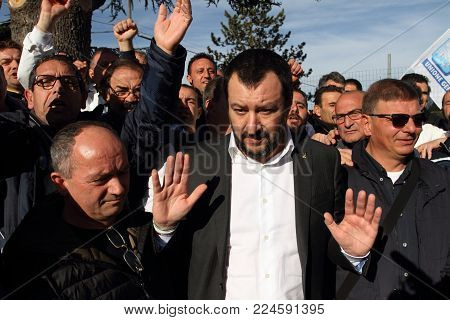 Roccasecca, Italy - January 18, 2018 - Matteo Salvini Meets The Workers Of The Ideal Standard Factor