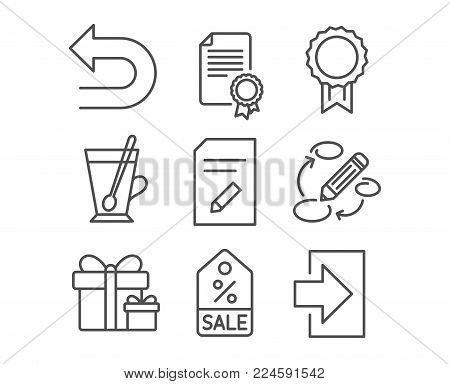 Set of Certificate, Reward and Edit document icons. Keywords, Undo and Surprise package signs. Tea mug, Sale coupon and Login symbols. Diploma, Best medal, Page with pencil. Vector
