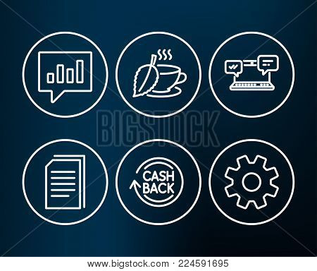 Set of Analytical chat, Cashback and Copy files icons. Mint tea, Internet chat and Service signs. Communication speech bubble, Refund commission, Copying documents. Vector