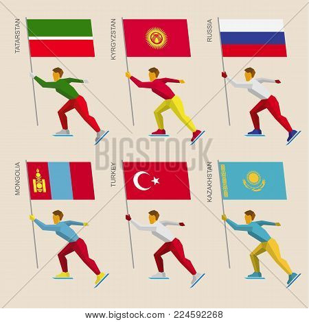 Set of simple flat athletes skating with flags of Asian countries. Standard bearers of Russia, Kazakhstan, Kyrgyzstan, Turkey, Tatarstan, Mongolia. Winter sport competition icon set.