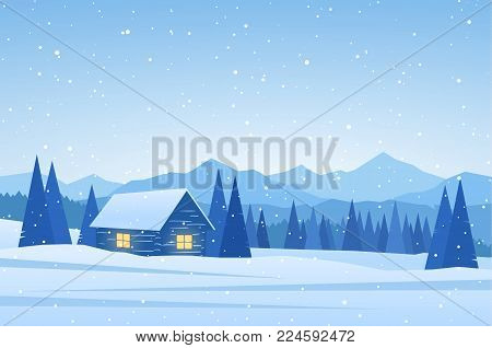 Vector illustration: Winter Mountains landscape with house on foreground.