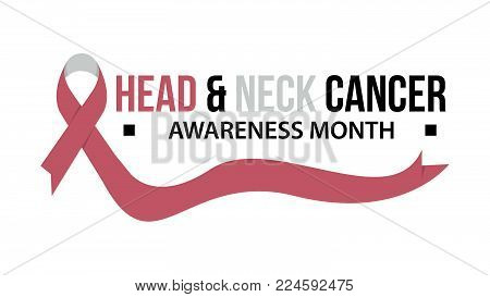 Awareness month ribbon cancer. Head & neck cancer awareness vector illustration
