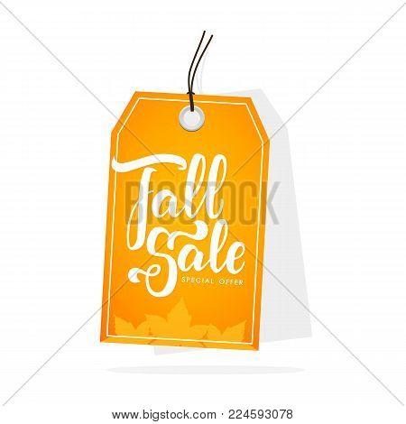 Vector illustration: Autumn seasonal sale label with handwritten lettering.