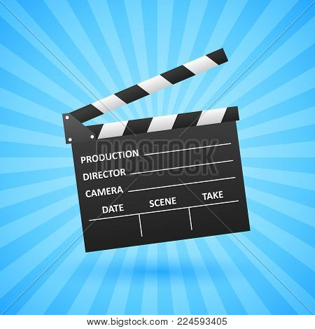 Realistic Cinema clapper. Movie making. Film industry. Cinematography concept. Vector illustration