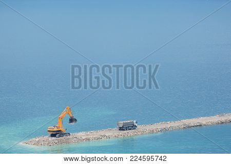 Construction of marina for yachts in the sea