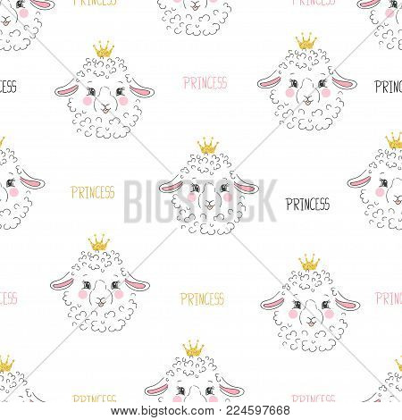Seamless Sheep Princess Pattern. Vector Background With Lambs. Baby Print.