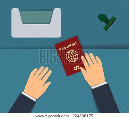 Biometric passport control. Border control counter concept. Passport with biometric data.  International identification document for travel flat vector paper art illustration. Checking the biometric passport with the scanner at passport control.