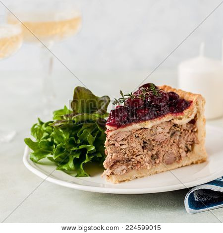 A Piece of Christmas Meat Pie with Cranberry Sauce Topping, square