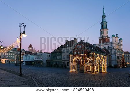 Poznan, Poland - December 30, 2017: The main square of Poznan with the Christmas illumination.