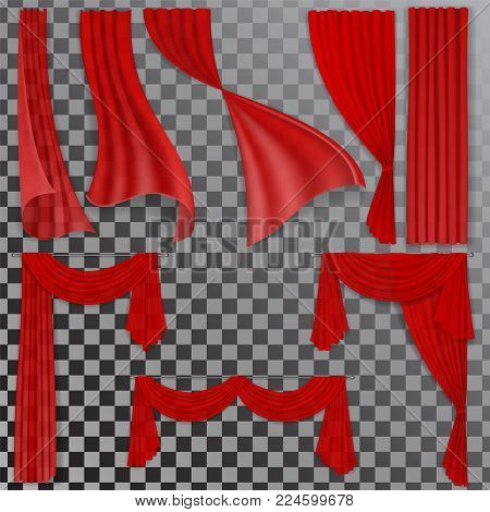 Set of realistic red transparent curtains. Element of the interior decor in the classic luxury style. Isolated on transparent background. Background for the stage of the theater.