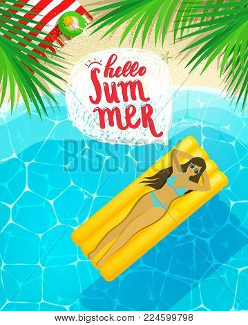Hello Summer message on marine background. Happy woman on a mattress for swimming. Sea and palm trees top view. Vector illustration.