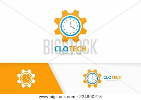 Vector clock and gear logo combination. Time and mechanic symbol or icon. Unique express and industrial logotype design template.