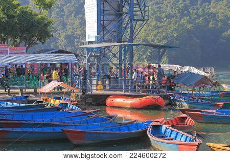 Pokhara Nepal - November 7, 2017: Unidentified People Take Fhewa Lake Boat Cruise In Pokhara Nepal.