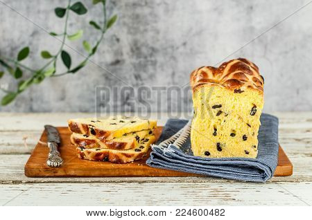 Easter Saffron Hot Cross Bun Loaf with Raisins, copy space for your text