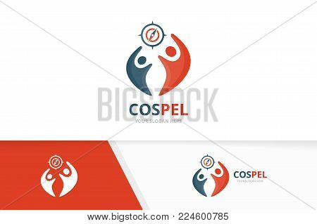 Vector compass and people logo combination. Navigation and family symbol or icon. Unique travel and union, help, connect, team logotype design template.