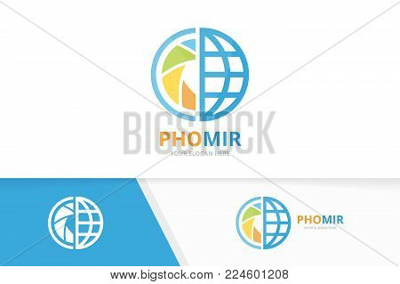 Vector camera shutter and planet logo combination. Lens and world symbol or icon. Unique photo and globe logotype design template.
