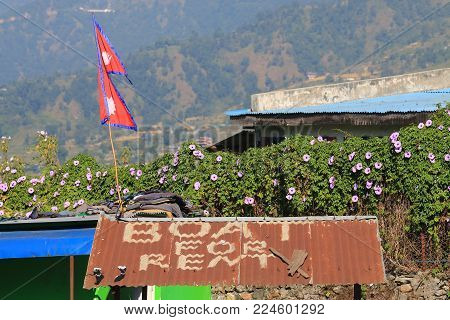 Pokhara Nepal - November 7, 2017: Boat For Rent Sign In Pokhara Nepal