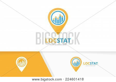 Vector graph and map pointer logo combination. Diagram and gps locator symbol or icon. Unique chart and pin logotype design template.