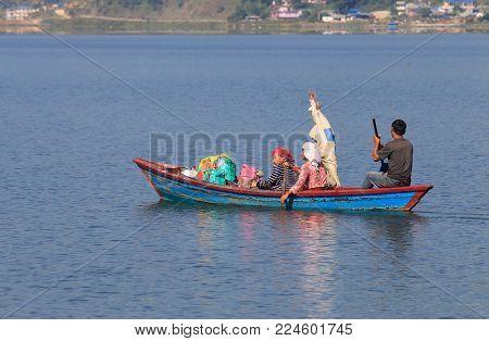 Pokhara Nepal - November 7, 2017: Unidentified People Sail In Fhewa Lake Pokhara Nepal.