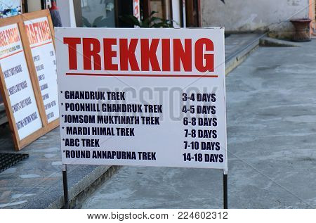 Pokhara Nepal - November 7, 2017: Local Tour Advertisement In Pokhara Nepal.