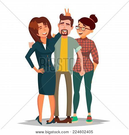 Friends Taking Photo Vector. Laughing People Group, Office Colleagues. Creative Man And Women. Friendship Concept. Isolated Illustration