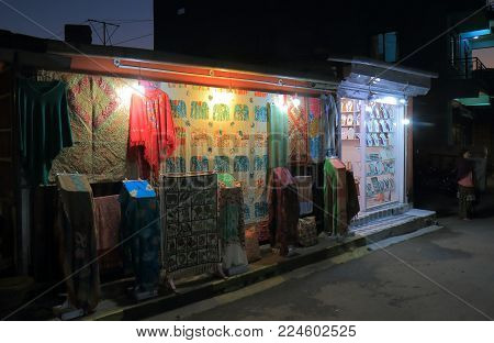 Pokhara Nepal - November 7, 2017: Local Souvenir Shop On Shopping Street In Pokhara Nepal.