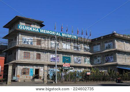 Pokhara Nepal - November 8, 2017: Gurkha Memorial Museum In Pokhara Nepal.