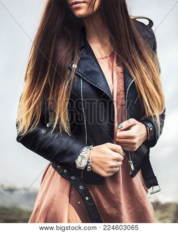 young woman wearing leather jacket, man, fashion, style a
