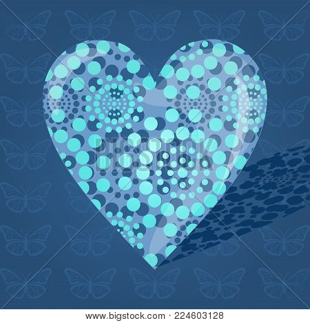 Blue bulky heart made of dots on a blue background