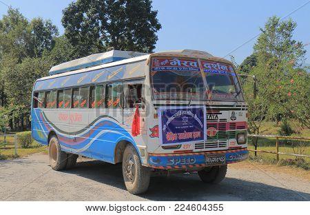Pokhara Nepal - November 8, 2017: Local School Bus Parked In Downtown Pokhara Nepal.