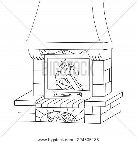 Object coloring vector illustration. A brick fireplace burns a tree. Works and heats.